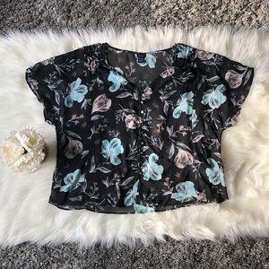 Size (2)XXL Torrid floral mint green & pink blouse